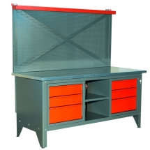 WORKBENCH 2m AND 6 DRAWERS WITH BOARD