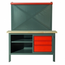 WORKBENCH 1,5m AND 3 DRAWERS WITH BOARD