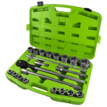"""JBM53727 21 PIECE PLASTIC TOOL CASE WITH 3/4"""" 6-POINT SOCKETS"""