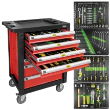 JBM53686 7 DRAWER CABINET WITH TOOLS (RED)