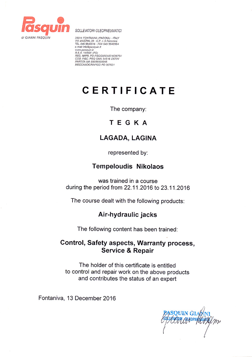 NEW CERTIFICATION FOR OUR COMPANY!